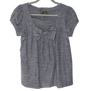 Anthropologie Fei Chambray Bow Shirt, Small